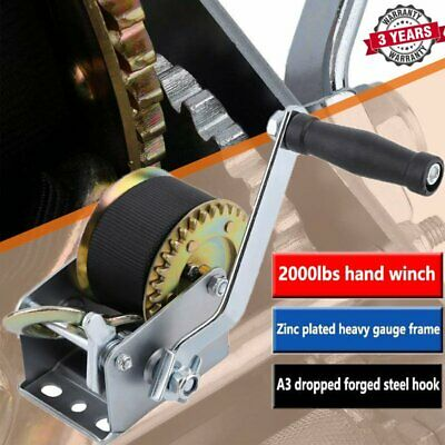 1200 lbs Heavy Duty Car Trailer Boat 4x4 ATV Manual Hand Winch Strap Puller