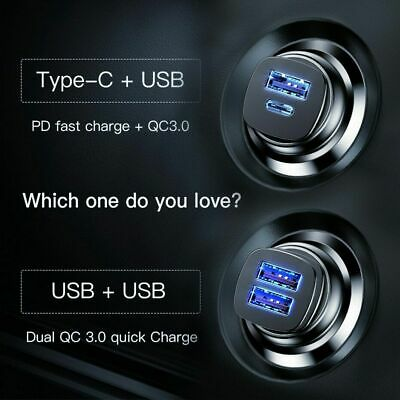 Baseus 30W Dual USB C Quick Charge QC 4.0 Car Charger For iPhone Samsung LG HTC