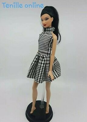 New Barbie doll clothes fashion outfit dress short pretty plaid black AU seller