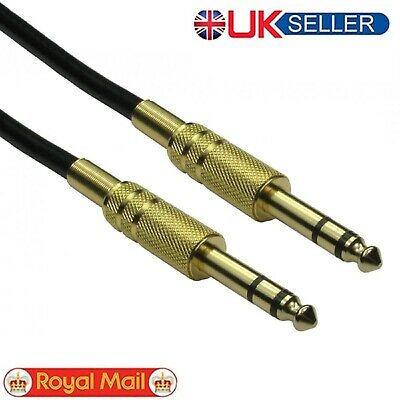 Premium Quality 6.35mm Male to Male Audio Cable - Gold Connectors UK