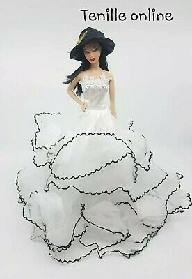 New Barbie doll clothes outfit princess wedding gown dress white hat