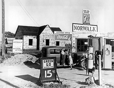 "Norwalk Gas Station Vintage/ Old Photo 8.5"" x 11"" Reprint"
