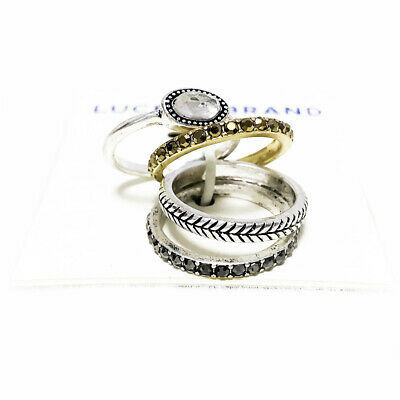 Lucky Brand Antiqued Two Tone Organic Crystal & Pave Stone Stack Ring Set