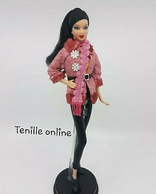 New Barbie clothes complete outfit pink belt jacket fashion winter coat