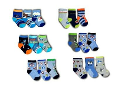 Baby Toddler Boys Kids Cotton Soft Socks 3 Pairs Multi Buy Size 6-24 Months