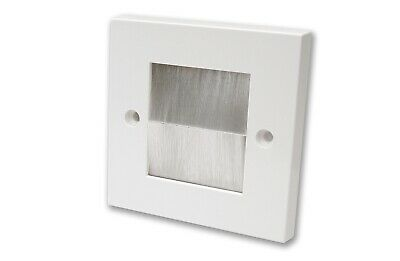 White Single Gang Faceplate White Brush Wall Outlet Cable Entry Plate Tidy Mount