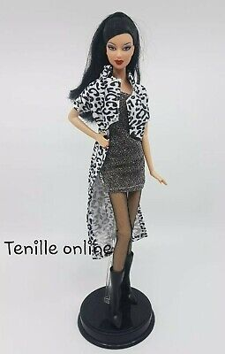 New Barbie clothes complete silver black animal print jacket fashion boots