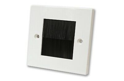 White Single Gang Faceplate Black Brush Wall Outlet Cable Entry Plate Tidy Mount