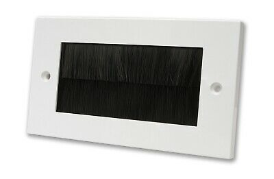 White Double Gang Faceplate Black Brush Wall Outlet Cable Entry Plate Tidy Mount