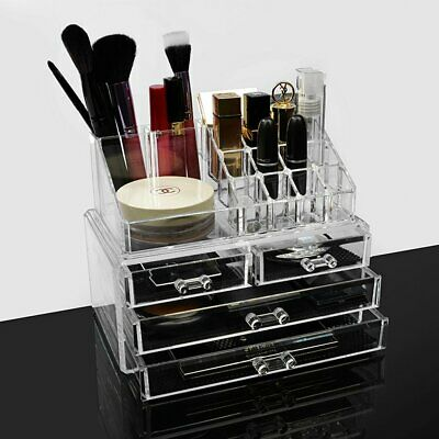Clear Acrylic Cosmetic Organiser with Drawers Makeup Jewelry Display Box Case UK