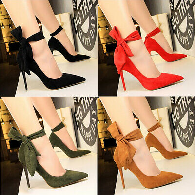 Ladies Womens Bow-Knot Pumps High Heel Pointed Toe Ankle Strap Wedding Shoes New