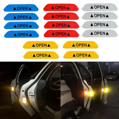 4pcs Super White Car Door Open Sticker Reflective Tape Safety Warning Decal AUTO