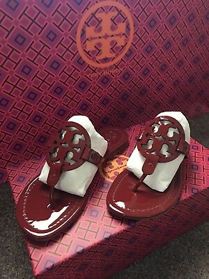 9f07fce6d39d NEW TORY BURCH Miller Dark Red Patent Leather T-Logo Flat SHOES SANDALS 5.5M
