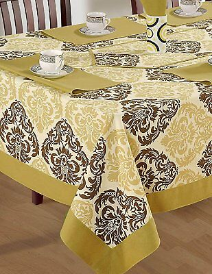 "Duck Cotton Floral Tablecloth 60"" X 90"" Dark Beige Border Green & Brown Design"