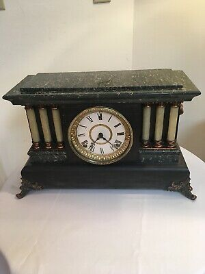 Antique Seth Thomas Green Adamantine Mantel Mantle Clock Parts Repair Six Column
