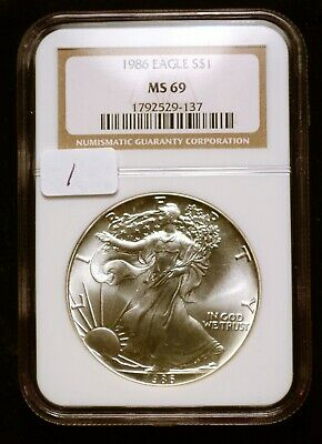 """1986 """"First Year of Issue"""" Silver $1 ASE American Eagle NGC MS69 $90 VALUE (#1)"""