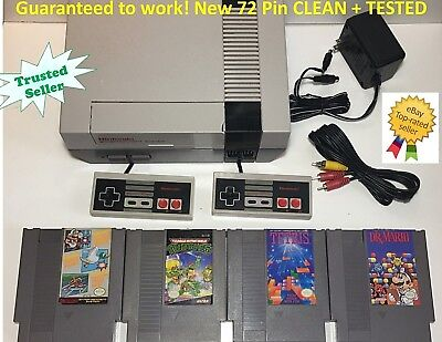 Nintendo NES Console Original Bundle NEW PINS Games Lot Super Mario Tetris TMNT