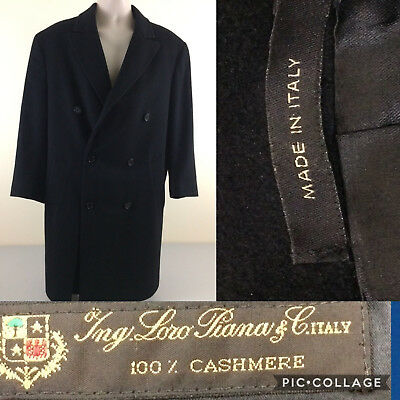 Loro Piana Men Long Coat 100% Cashmere 40 R Black Made In Italy- Excellent Cond