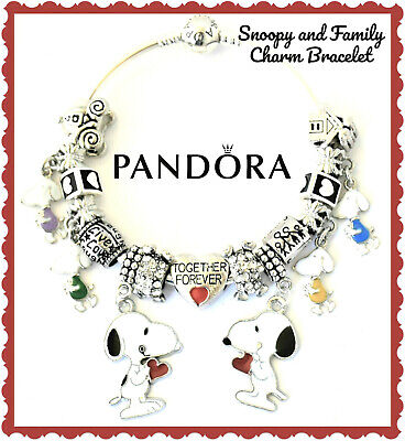 Authentic PANDORA Bracelet Silver Bangle with Snoopy Wife Family European Charms