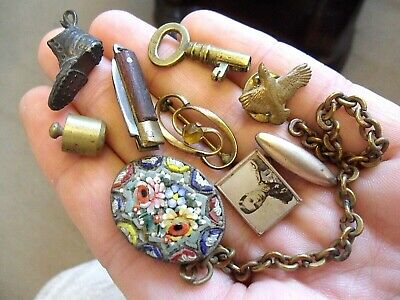 Job lot of vintage Items Brooches Sweetheart Brass weight Key Cufflink Chain VGC