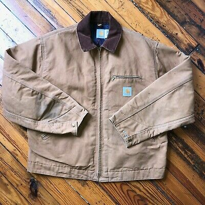 Men's Clothing Carhartt Men's Blanket Lined J001 Brn Jacket Size Medium Clothing, Shoes & Accessories