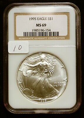 1995 Silver $1 ASE American Eagle NGC MS69 $90 VALUE (#10) Blast White & Luster!