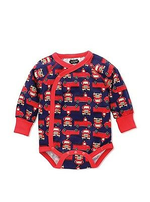 Mud Pie Baby Boy Fire Truck Long Sleeve Bodysuit One Piece 3-6 Months New