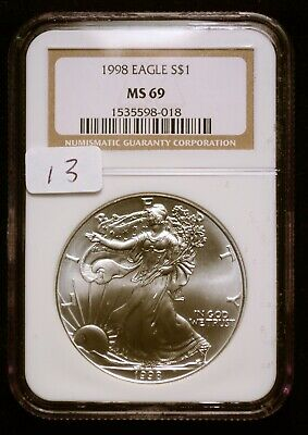 1998 Silver $1 ASE American Eagle NGC MS69 $65 VALUE (#13) Blast White Luster