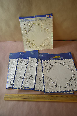 Lot Of 5 Royal Lace Square Doilies, White, 8-Inch, Pack of 20