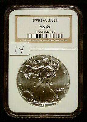 1999 Silver $1 ASE American Eagle NGC MS69 $60 VALUE (#14) Blast White Luster