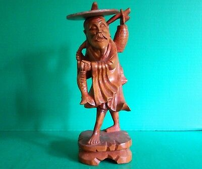 Vintage Asian Hand Carved Wood Chinese Fisherman Figurine, Statue