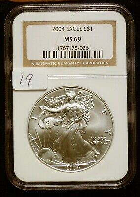 2004 Silver $1 ASE American Eagle NGC MS69 $41 VALUE (#19) Blast White Luster