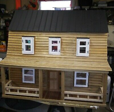 Vintage Wooden Doll House 4 Rooms Farmers Porch Working Doors Windows