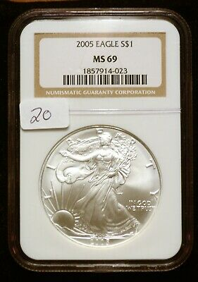 2005 Silver $1 ASE American Eagle NGC MS69 $50 VALUE (#20) Blast White Luster