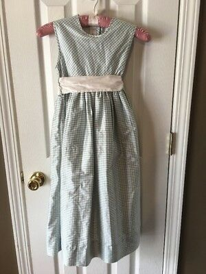 Strasburg Boutique Silk Formal Party Gingham Flower Girl Occasion Dress 7 Blue