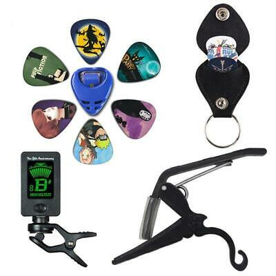 Guitar Tuner Clip On Acoustic Capo  Plectrum Holder Key Ring 6 Colors Picks