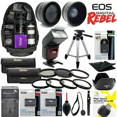 GIANT HD 8K LENS ACCESSORY KIT FOR CANON EOS 80D WITH 18-55mm TRIPOD BACKPACK