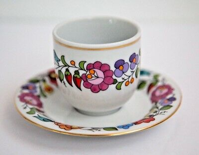KALOCSA HUNGARY FLORAL DEMITASSE CUP and SAUCER HANDPAINTED