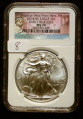 2014-W Silver $1 American Eagle NGC MS70 Early Releases $62 Value (#8)