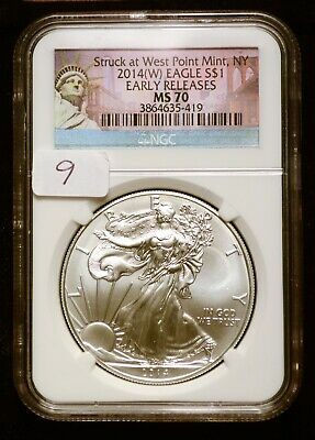 2014-W Silver $1 American Eagle NGC MS70 Early Releases $62 Value (#9)