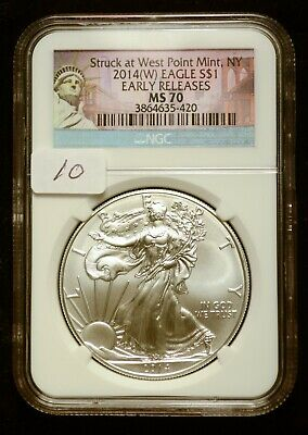 2014-W Silver $1 American Eagle NGC MS70 Early Releases $62 Value (#10)