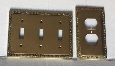 Lot of 2 Solid Brass Wall Cover Plates Toggle Light Switch Vintage 1marked Gatco