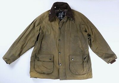 Barbour Mens Olive Green Waxed Cotton Classic Bedale Jacket Size 42 / 107cm $320