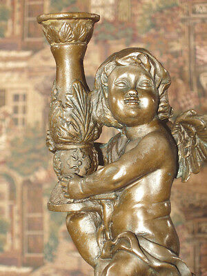 * Real Bronze Metal on Stone Ornate Candlestick Victorian Cherub #2 of Pair S2