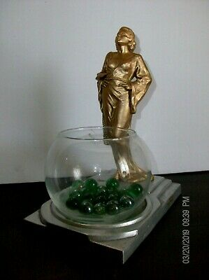 1930's JEAN HARLOW FISH BOWL art deco OLD HOLLYWOOD GOLD SPELTER SUPER RARE
