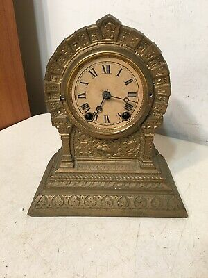 Antique N Muller Terry Clock Co Mantle Clock W Eagle 1868 Native American Treaty