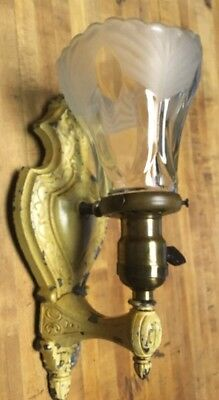 Vintage Wall Cast Aluminum Light Fixture Sconce Antique Glass Shade P&G Paddle