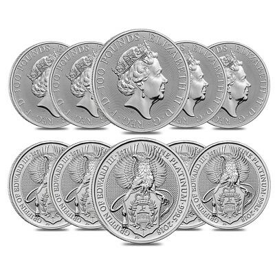 Roll of 10 - 2018 Great Britain 1 oz Platinum Queen's Beasts (Griffin) Coin BU