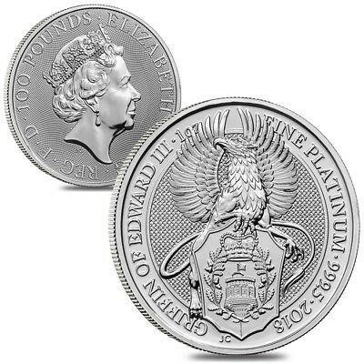 Lot of 2 - 2018 Great Britain 1 oz Platinum Queen's Beasts (Griffin) Coin BU
