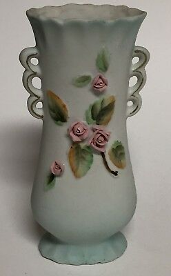 Vintage Bisque Porcelain Bud Vase with Applied Roses 6.5 Inches 53/220